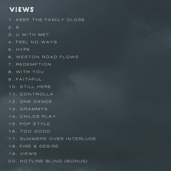 Drake- Views <3 This deserves a grammy! ;D Favorite song on this album:1: Keep The Family Close