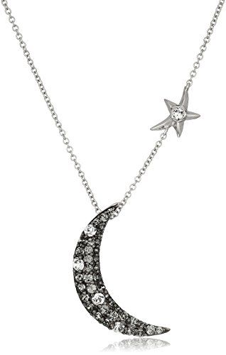Sterling Silver Swarovski Clear Crystal and Black Diamond Crystal Crescent Moon Pendant Necklace, 18″	by Amazon Collection