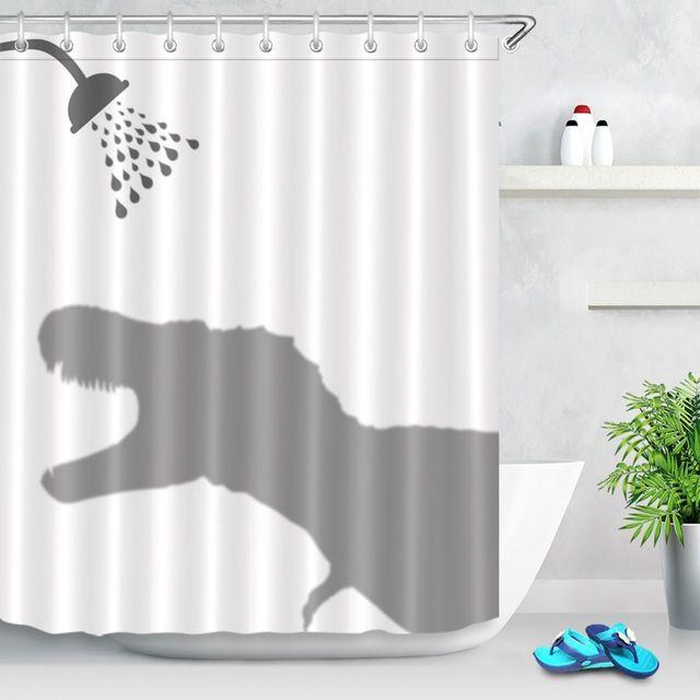 Funny Cartoon Style Custom Waterproof Dinosaur Roaring Shadow Shower Curtain Polyester Fabric Bathroom Bath Curtain Kids Gift Review Kids Bathroom Shower Curtain Kids Bathroom Shower Funny Shower Curtains