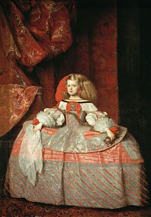 Infanta Margarita Teresa in pink dress (1660) by Diego Velázquez and Juan Bautista Martínez del Mazo, Museo del Prado, Madrid, depicting Margaret Theresa of Spain wearing an extremely wide pannier petticoat. (Wikipedia)
