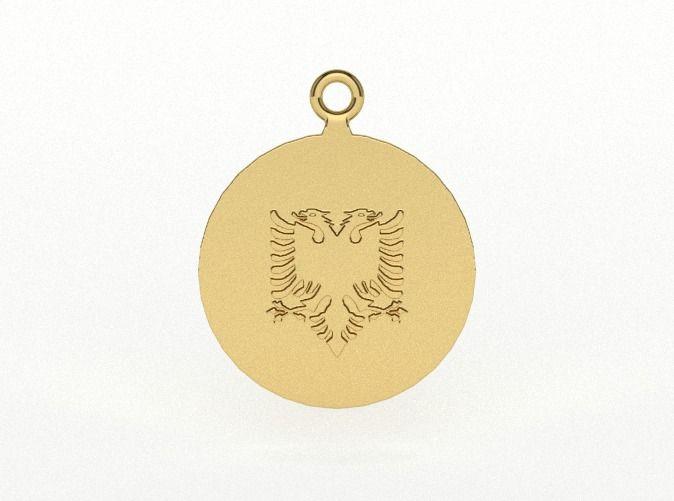 Albanian Flag Eagle Earring/Pendant B by vanca - Shqiponja e flamurit në formë vathi ose varëseje - 3D printed jewelry - bizhuteri shqiptare - flamuri shqiptar