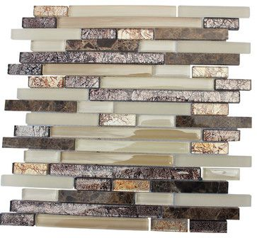 """Desert Sunset"" Dark Emperador Brown Cream Coco Brown Belgian Foil - transitional - Mosaic Tile - Mosaic & Tile Source Inc."