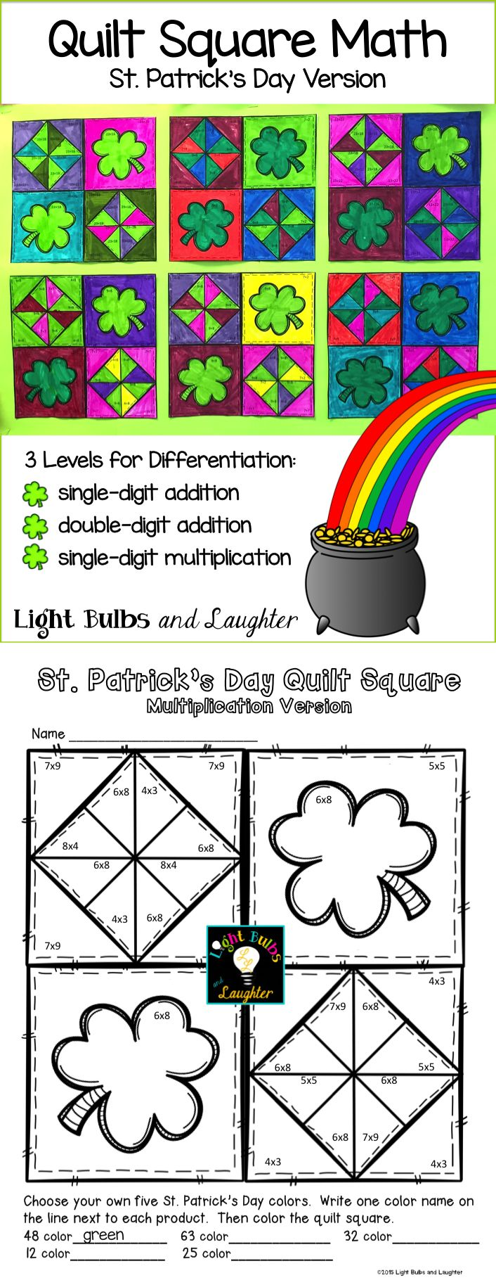 St. Patrick's Day math art fun!  Three math levels to allow for differentiation, using addition and multiplication - makes a beautiful St. Patrick's Day display!  TpT$