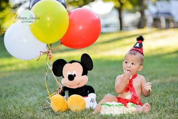 Baby Boy/ Toddler Mickey Mouse Cake Smash Outfit  for First Birthday.  Includes:  Party Hat, Tie and Diaper Cover.