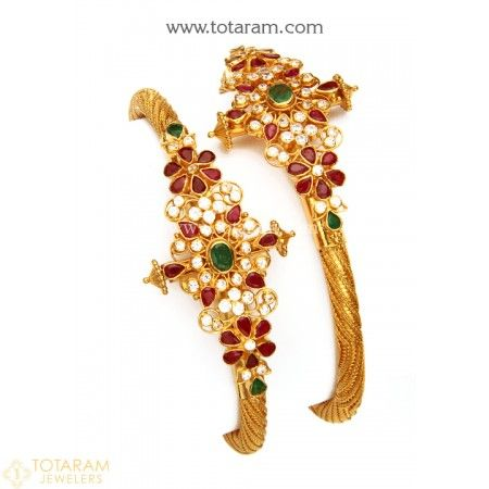 22K Gold Kada with Cz , Ruby & Emerald - Set of 2 (1 Pair) - 235-GK518 - Buy this Latest Indian Gold Jewelry Design in 39.600 Grams for a low price of  $2,310.15