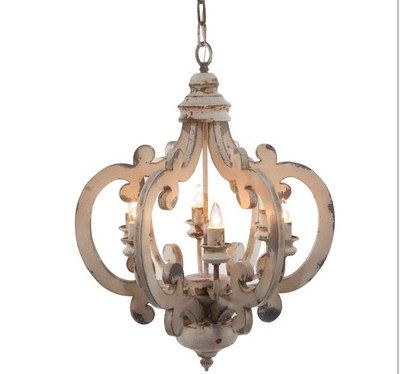 Antiqued White Scroll French Country Chandelier