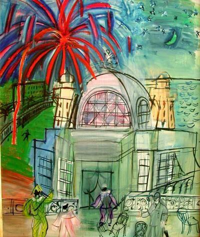 Feu d'artifice à Nice, le casino de la jetée promenade - Raoul Dufy - 1947