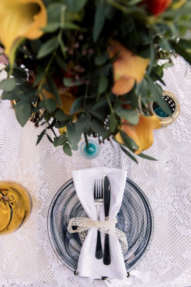 Colorful Bohemian Wedding Inspiration off the Coast of Santorini- place setting