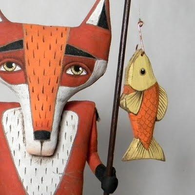 Finnegan the Fishing Fox (painted fabric)