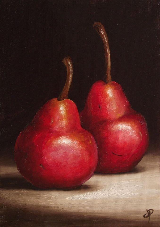Red Williams Pears, J Palmer Daily painting Original Oil still life Art
