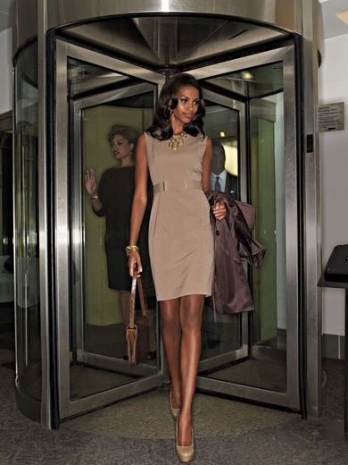 Calvin Klein trench coat, $270, calvinklein.com. Calvin Klein dress,