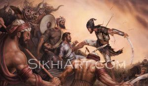 Sahibzada Ajit Singh fought till the very end to defend his father Guru Gobind Singh ji, in the gruesome Battle of Chamkaur in 1705. He sacrificed his life for the Guru and his Sikhs.    His sacrifice is unrivaled by anyone of his age, 18.  http://sikhiart.com/for-sale/battle-of-chamkaur/