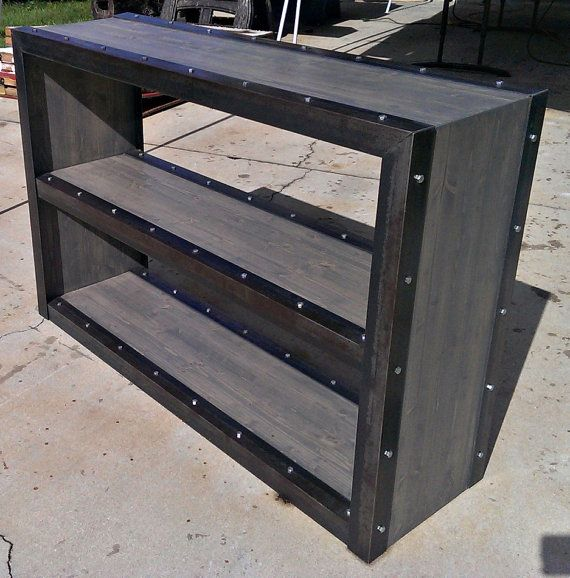 Weathered Modern Industrial Bookcase 024 by IndustEvo on Etsy