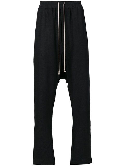 Rick Owens drop-crotch trousers.