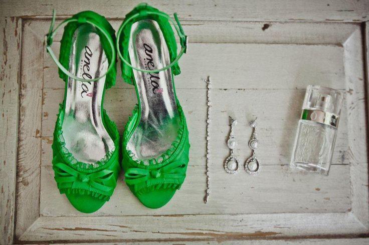 #RealBride Danike's apple green Kim Style #AnellaWeddingShoes www.weddingshoes.co.za
