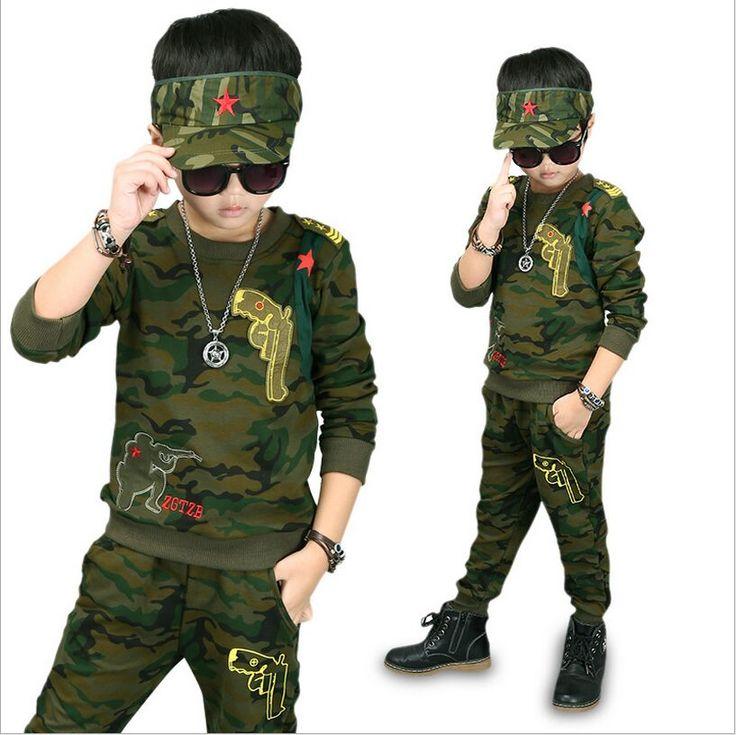 2017 New Boys Set Casual  Sport Suit Child Camouflage T-Shirt Long Sleeve + Pants Autumn Children Suit Hot Sell  #Affiliate