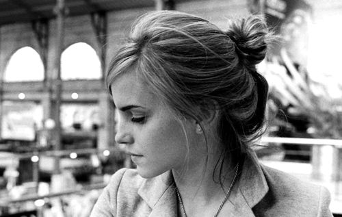 Emma Watson--the perfect messy bun for mid-length hair