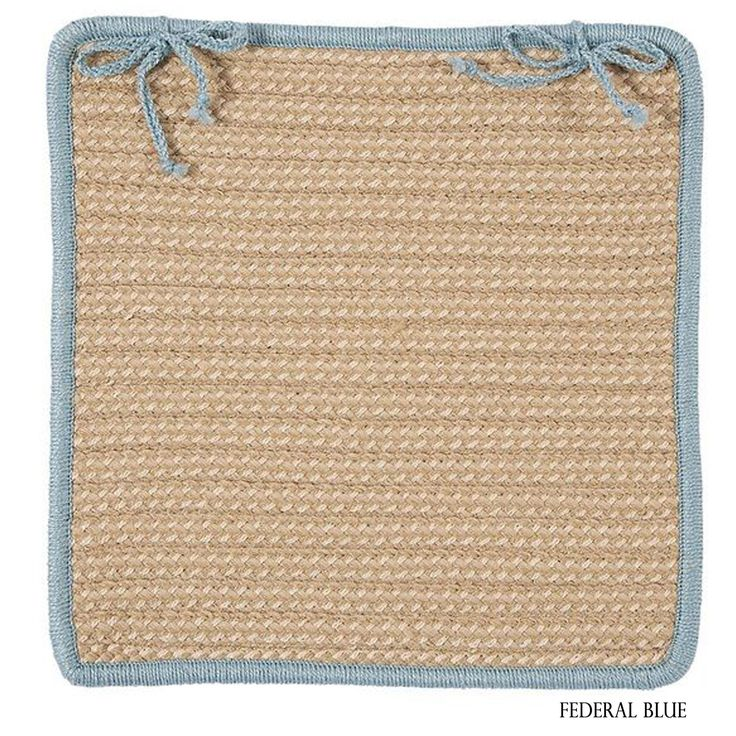 Colonial Mills Textured Accent Indoor/Outdoor Chair Pads Set-4 (Tan/Blue/Multi) (Synthetic Fiber, Border)