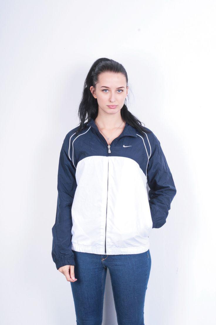 Nike Womens S Jacket Navy Blue White Nylon Waterproof