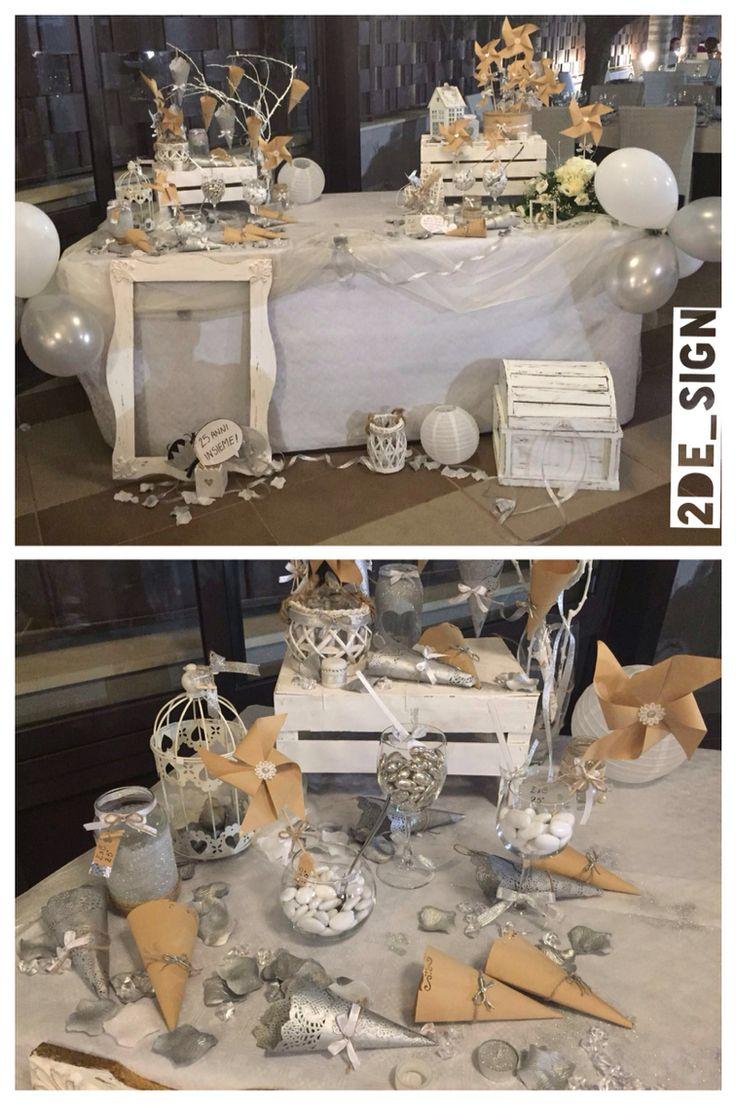 Wedding 25th anniversary, silver, glitter, shabby chic/ confettata per nozze d'argento, coni e girandole con dettagli argento, glitter argentati e dettagli in legno bianco stile shabby chic, photoprops