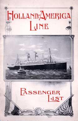 Passenger List, Holland America Line T.S.S. Statendam, 1908, Rotterdam to New York