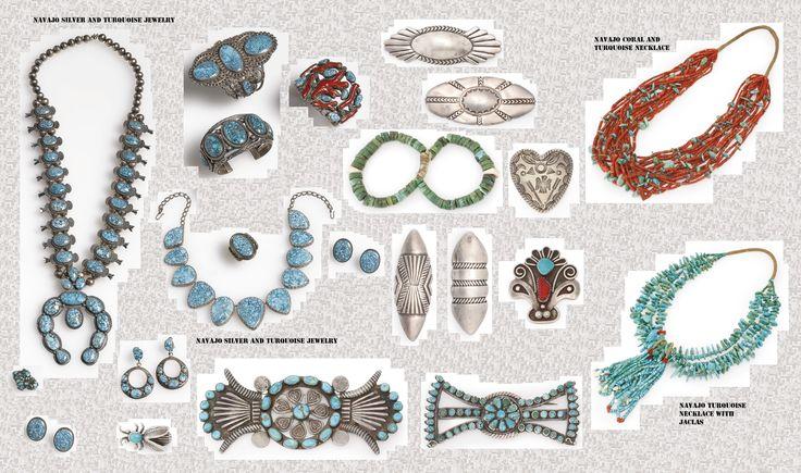 """Anche se lo stile dei gioielli Navajo è quello ispano-moresco, il simbolismo che si cela dietro questi ornamenti scaturisce dalla mitologia indigena. I Navajo hanno iniziato a lavorare l'argento solo nel 19° sec. Delgadito o """"Old Smith,"""" (c. 1828-1918) potrebbe essere stato il primo Navajo ad aver imparato il mestiere da un argentiere messicano intorno al 1853. Le pietre semi-preziose sono entrate in uso decisamente più tardi in un periodo a cavallo tra il XIX e XX sec.."""