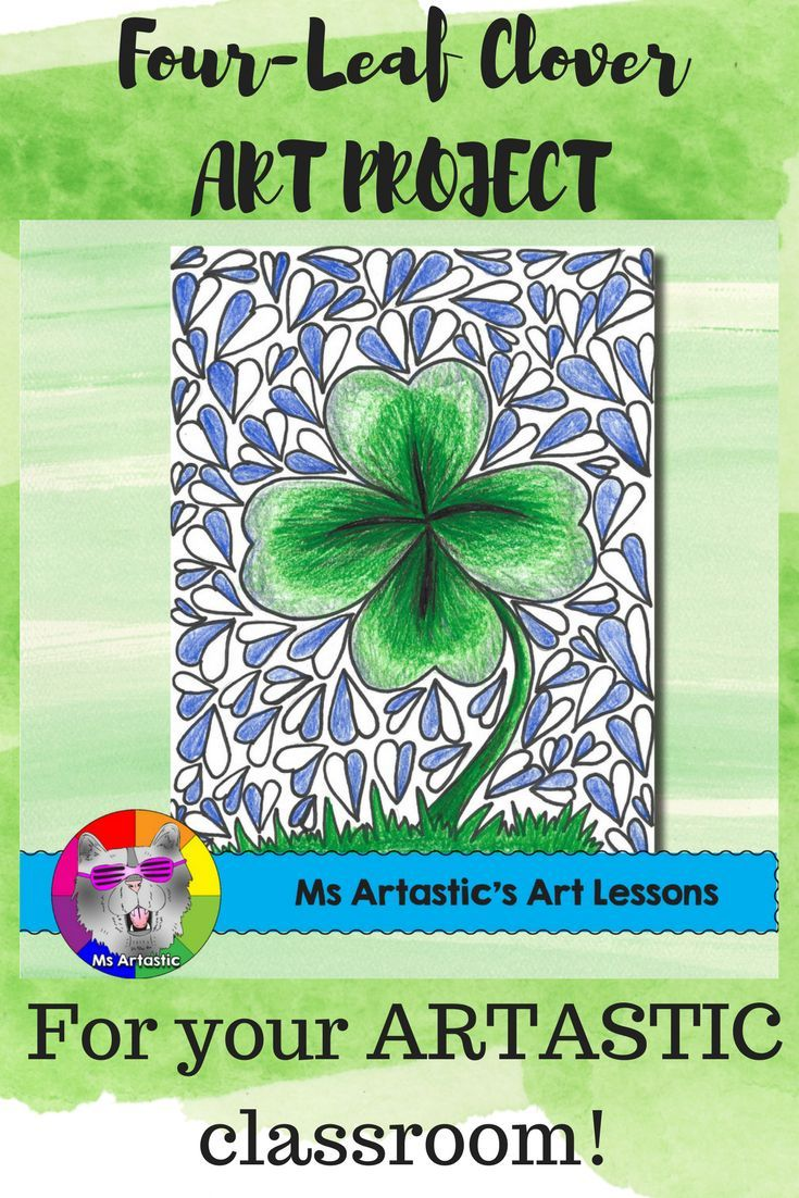 Four-Leaf Clover art for St. Patrick's day! Experiment with pencil crayons to create a unique St.Patrick's Day art project with your students. This is a great way to keep them engaged and in the spirit as St. Patrick's day nears (with all things green and glorious!). Spend an afternoon creating art!