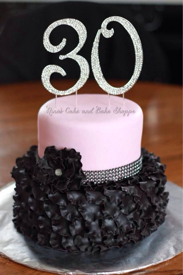 Black And Pink 30th Birthday Cake Ruffled Petals Rhinestone Ribbon Flower On Facebook Instagram