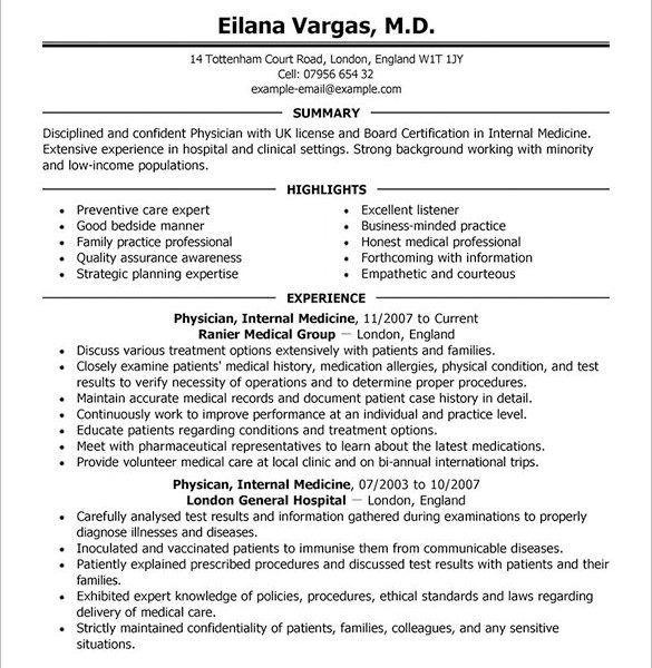 Cv Template Physician Resume Format Cv Template Resume Template Resume Design Template