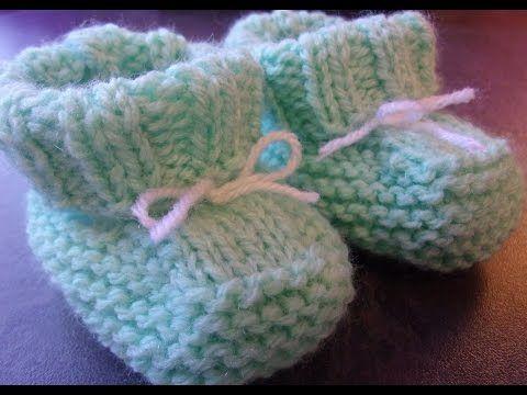 Chaussons bébé 0/3 mois au tricot - YouTube