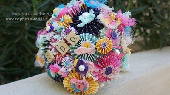 Pinwheel paper bouquet with scrabble tiles.