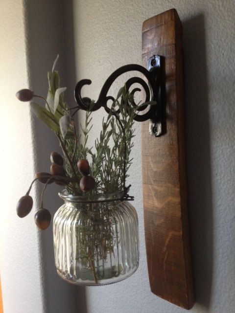 Oak wine barrel stave candle sconce with great ribbed glass vase or candle holder
