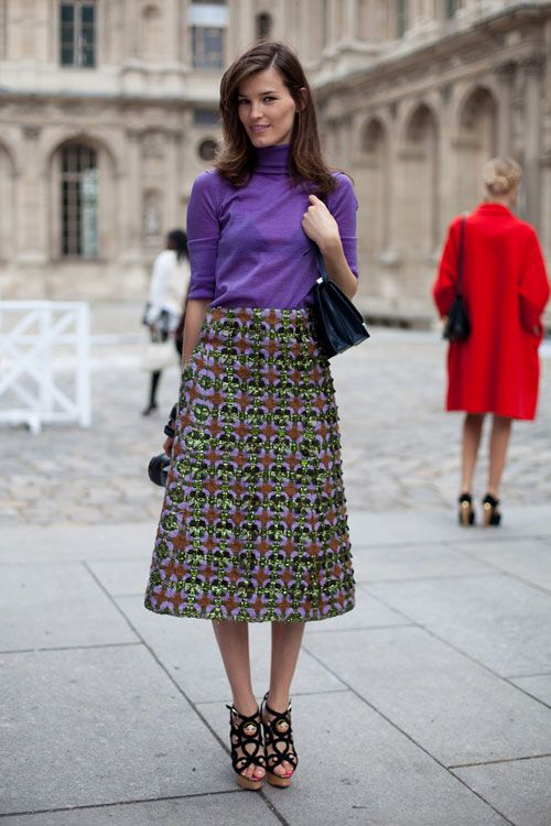 STREET STYLE SPRING 2013: PARIS FASHION WEEK - Hanneli Mustaparta gets the royal treatment in a violet look.
