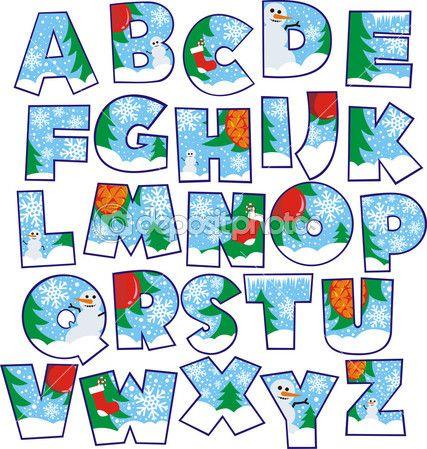 alfabeto de Navidad — Vector stock © pitroviz #7619775