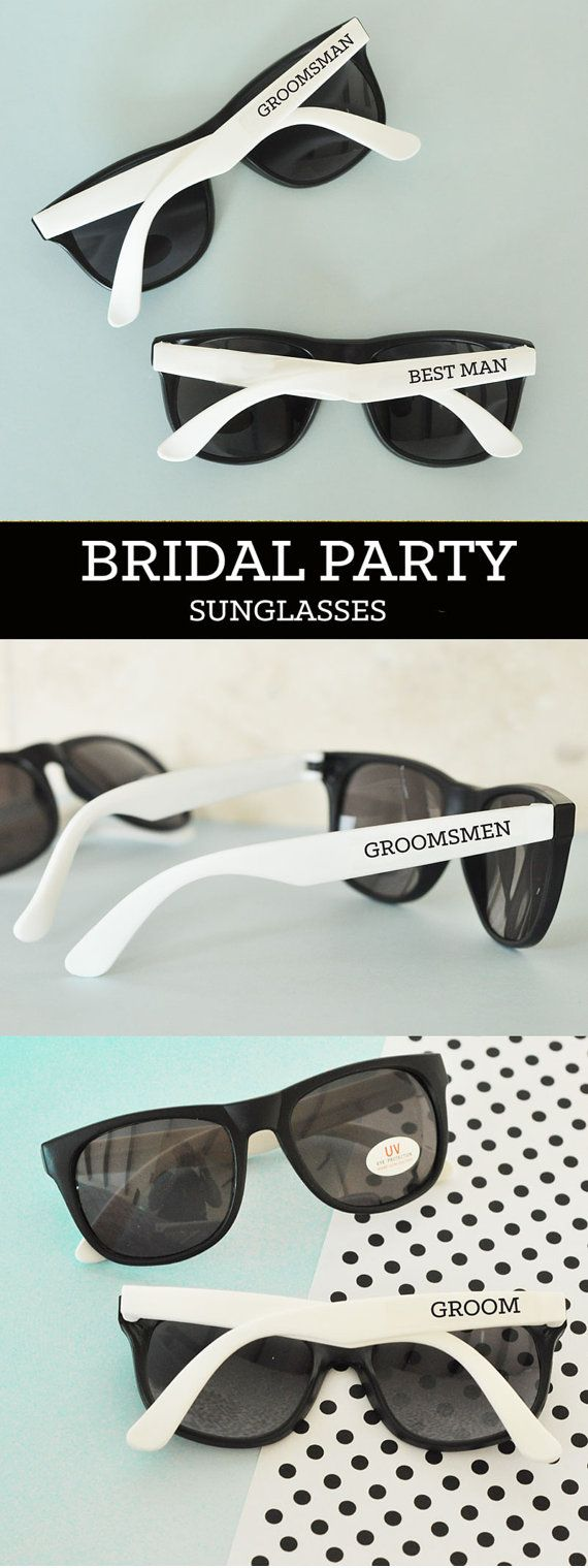Groomsmen Gift Sunglasses are great gifts for your groomsman, best man, ring bearer and more! These cool wedding sunglasses will make a great accessory for