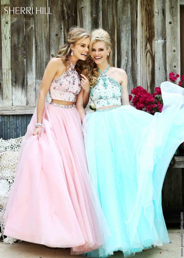 Gorgeous Beaded High Neckline Pink Two Piece Long Evening Ball Gowns