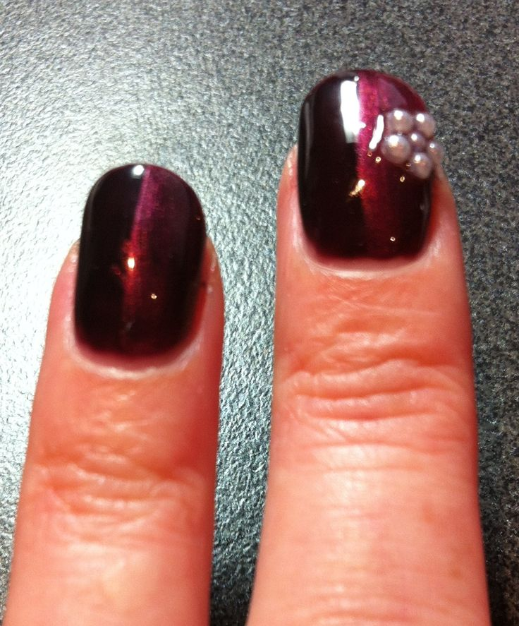 Nails Shellac layering. Fedora and Hot Chilis Flower decal glued to protect a tear