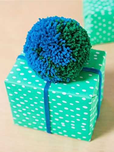 Oh Joy Gift Wrapping Ideas for Good Housekeeping   Make a large and in charge pom pom!