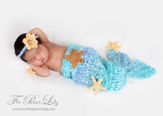 Newborn Mermaid Tail and Headband Set,  Baby Beach Photo Prop, Newborn Baby Girl Crochet Photo Prop