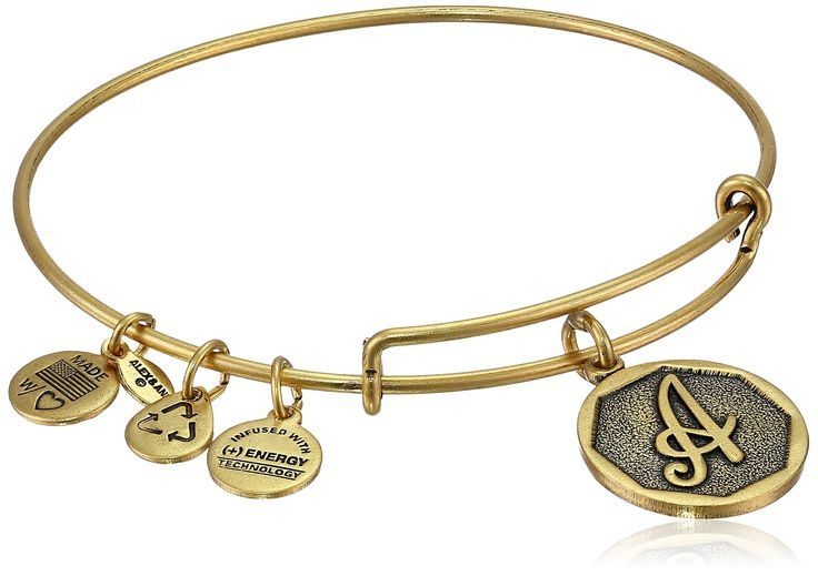 "Alex and Ani Rafaelian Gold Finish Initial ""A"" Expandable Wire Bangle Bracelet, 2.5"":"