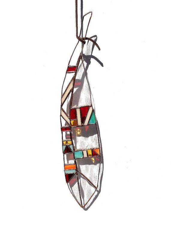 Southwestern Stained Glass Feather by AdoniDesigns on Etsy