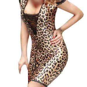 Vestido de leopardo con escote transparente. Se ajusta a tu figura como un guante.