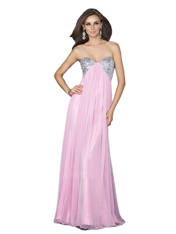 La Femme 16977 Strapless Sequined Metallic Prom Dress - Pink size 4 $89 - This floor length gown is simply gorgeous with it's unique double strap back design. Bust is accented with sequins. Fabric is a unique metallic jersey.