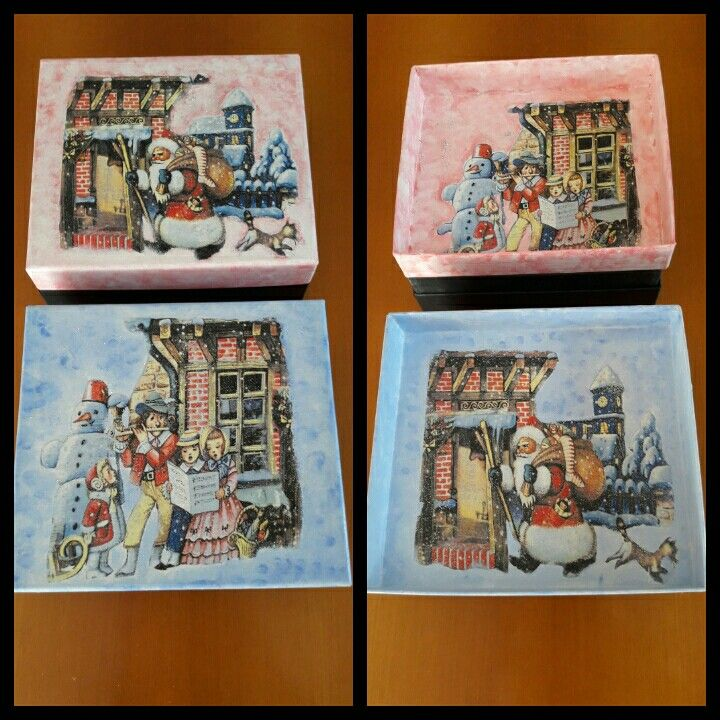 Scatole in decoupage Natale