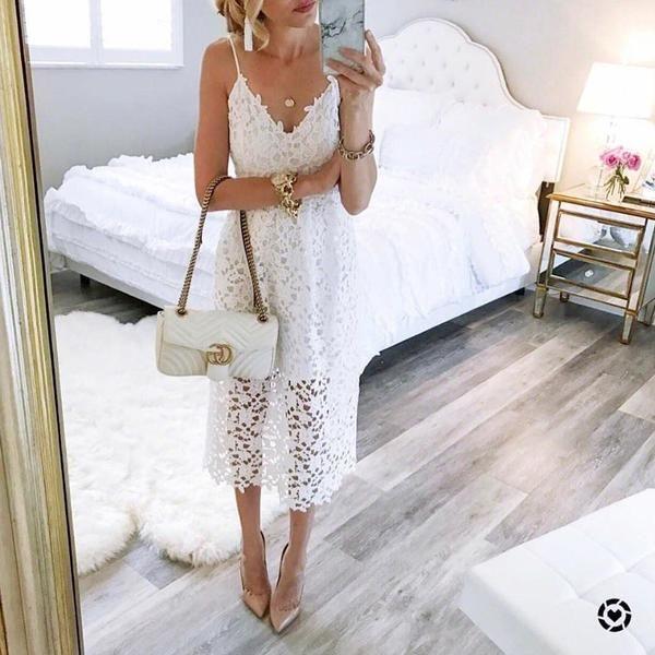 Lace Cutout Dress Lace Summer Dresses White Boho Dress Lace Dress