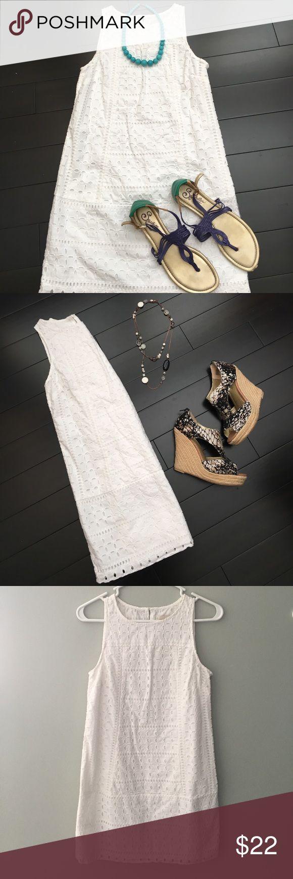 LOFT White Eyelet Dress Great summer shift dress, perfect for graduations, showers, and weddings. Hits mid thigh. LOFT Dresses Mini