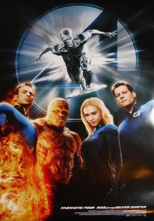 Fantastic 4: Rise of the Silver Surfer (2007) The Fantastic Four learn that they aren't the only super powered beings in the universe when they square off against the powerful Silver Surfer and the planet-eating Galactus.  Ioan Gruffudd, Jessica Alba, Chris Evans