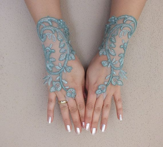 Wedding Glove, cadet blue lace gloves, Fingerless Glove,  mint green, bridal gloves, party costume, party dress, french lace gloves