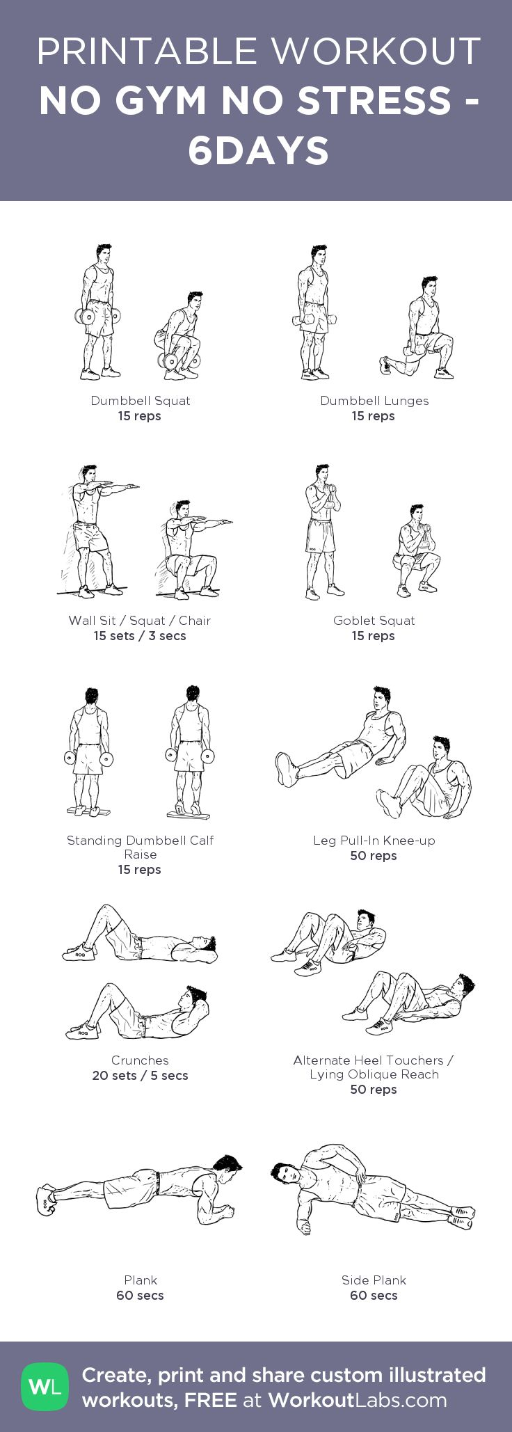 NO GYM NO STRESS : Stretching is the first. Do 3 cycles sequentially and the last is CARDIO 10 minutes.