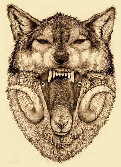 Just found my new tattoo, spirit and zodiac animals together. Wolf and Ram Tattoo | Kaijae | THIS IS AMAZING